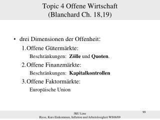 Topic 4 Offene Wirtschaft (Blanchard Ch. 18,19)