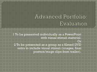 Advanced Portfolio: Evaluation