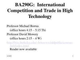 BA290G:  International Competition and Trade in High Technology