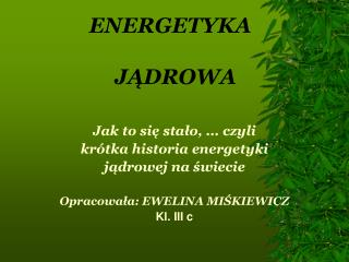 ENERGETYKA    J?DROWA