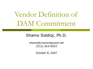 Vendor Definition of DAM Commitment
