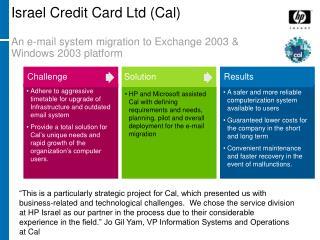 Israel Credit Card Ltd (Cal) An e-mail system migration to Exchange 2003 & Windows 2003 platform