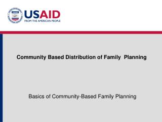 Community Based Distribution of Family  Planning