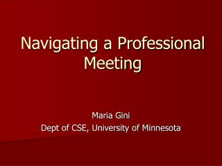 Navigating a Professional Meeting