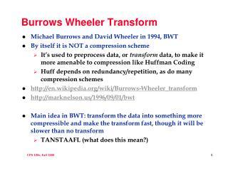 Burrows Wheeler Transform