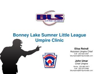 Bonney Lake Sumner Little League Umpire Clinic