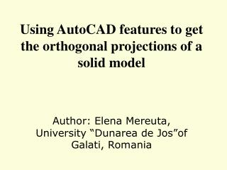 Using AutoCAD features to get the orthogonal projections of a solid model
