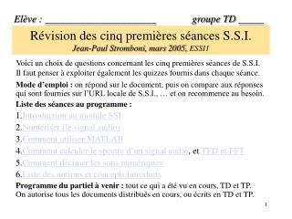 Révision des cinq premières séances S.S.I.   Jean-Paul Stromboni, mars 2005,  ESSI1