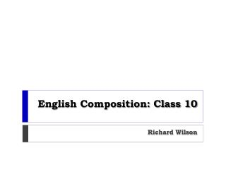 English Composition: Class 10