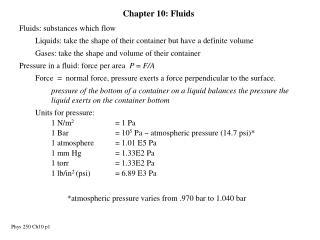 Chapter 10: Fluids