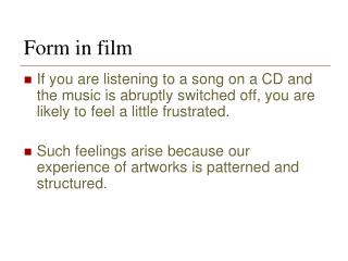 Form in film