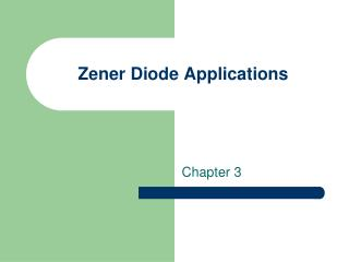 Zener Diode Applications