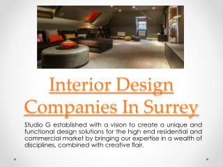 Interior Designers In Surrey