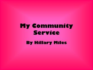 My Community Service