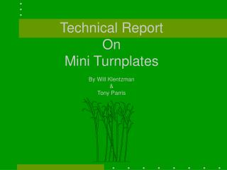 Technical Report On  Mini Turnplates By Will Klentzman &  Tony Parris