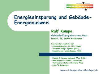 Energieeinsparung und Geb�ude-Energieausweis