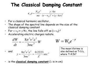 The Classical Damping Constant