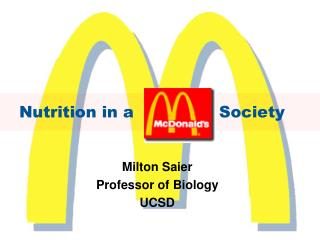 Nutrition in a                Society
