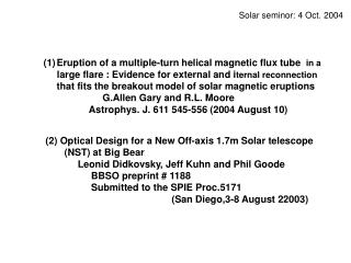 Solar seminor: 4 Oct. 2004