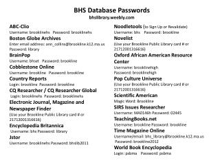 BHS Database Passwords bhslibrary.weebly