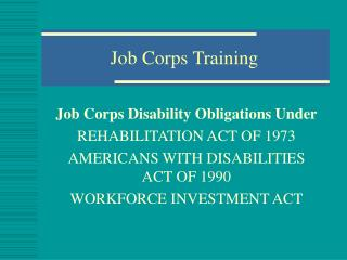 Job Corps Training