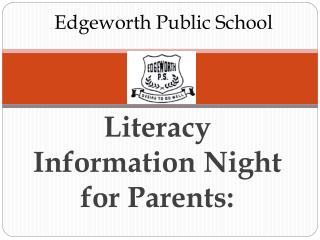 Literacy Information Night for Parents: