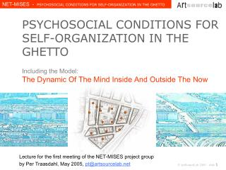 PSYCHOSOCIAL CONDITIONS FOR SELF-ORGANIZATION IN THE GHETTO  Including the Model:  The Dynamic Of The Mind Inside And Ou
