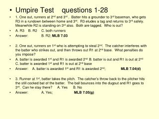 Umpire Test    questions 1-28