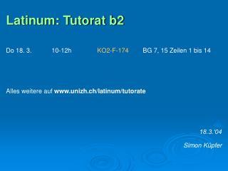 Latinum: Tutorat b2