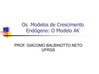 Os  Modelos de Crescimento End�geno: O Modelo AK