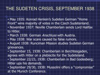 THE SUDETEN CRISIS, SEPTEMBER 1938