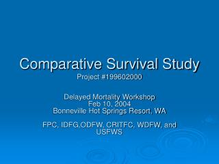 Comparative Survival Study Project #199602000