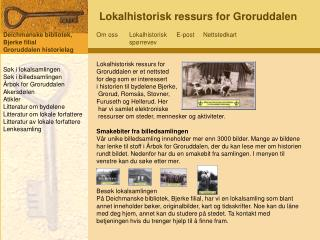 Lokalhistorisk ressurs for Groruddalen