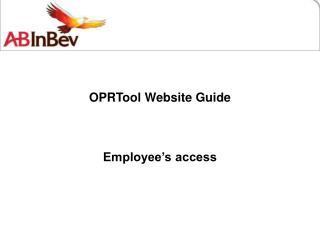 OPRTool Website Guide Employee's access