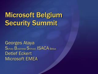 Microsoft Belgium Security Summit