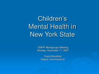 Children's  Mental Health in  New York State