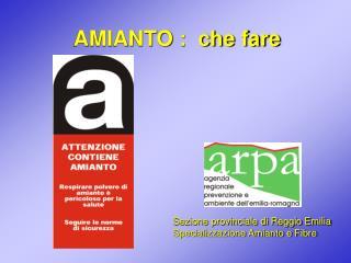 Sezione provinciale di Reggio Emilia Specializzazione Amianto e Fibre