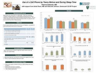 Use of a Cell Phone by Teens Before and During Sleep-Time Patricia Edwards, MD