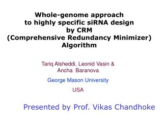 Whole-genome approach  to highly specific siRNA design  by CRM