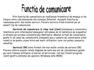Functia de comunicare