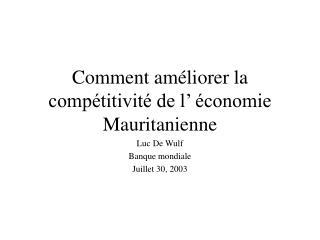 Comment améliorer la compétitivité de l' économie Mauritanienne
