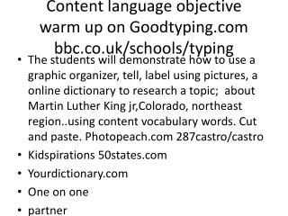 Content language objective warm up on Goodtyping bbc.co.uk/schools/typing