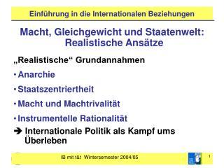 Einf�hrung in die Internationalen Beziehungen