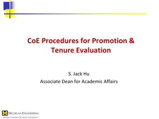 CoE  Procedures for Promotion & Tenure Evaluation