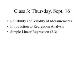 Class 3: Thursday, Sept. 16