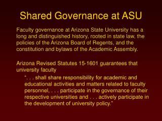 Shared Governance at ASU