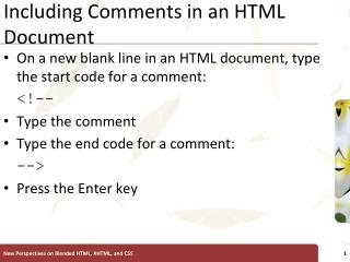 Including Comments in an HTML Document