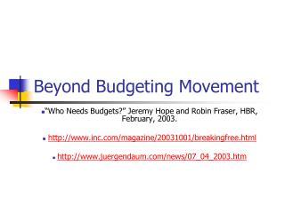 Beyond Budgeting Movement