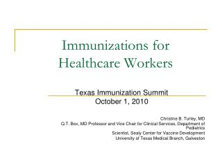 Immunizations for  Healthcare Workers
