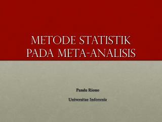 Metode Statistik  pada Meta-Analisis